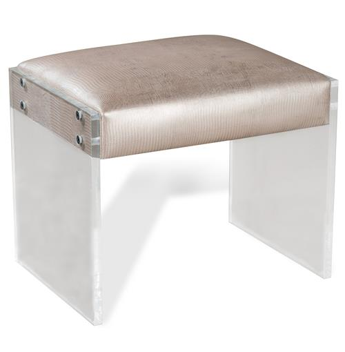 Interlude Nori Champagne Hollywood Regency Acrylic Lizard Stool | Kathy Kuo Home
