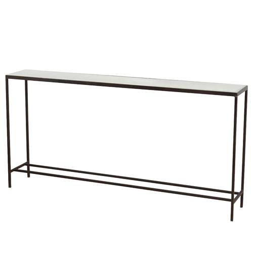 Interlude Hayward Modern Thin Mirrored Wide Console Table | Kathy Kuo Home