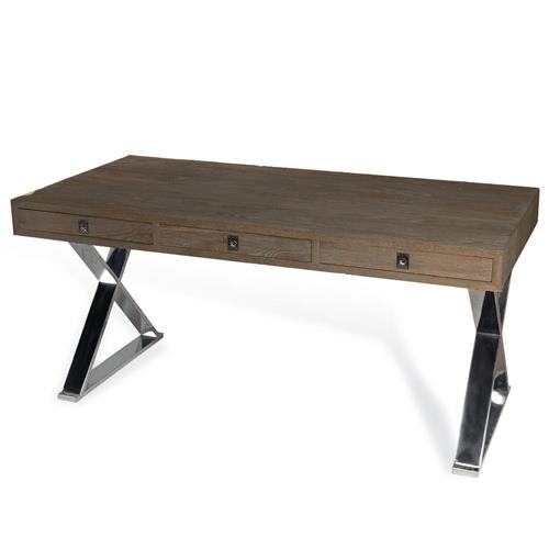 Interlude Menton Modern Industrial Loft Large Steel Wood Desk | Kathy Kuo Home
