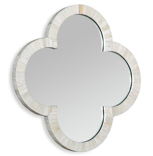 Cala Small Quatrefoil Global Coastal Cream Wall Mirror | Kathy Kuo Home