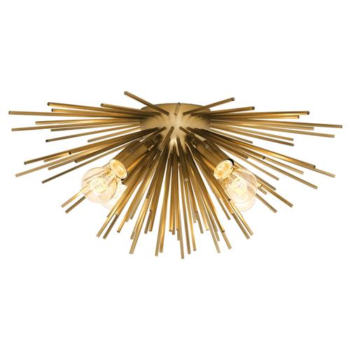 Eichholtz Boivin Hollywood Regency Matte Brass Iron Starburst Ceiling Light Kathy Kuo Home