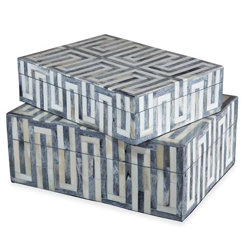 Interlude Interlude Walker Global Bazaar Grey White Bone Boxes - Set of 2 | Kathy Kuo Home