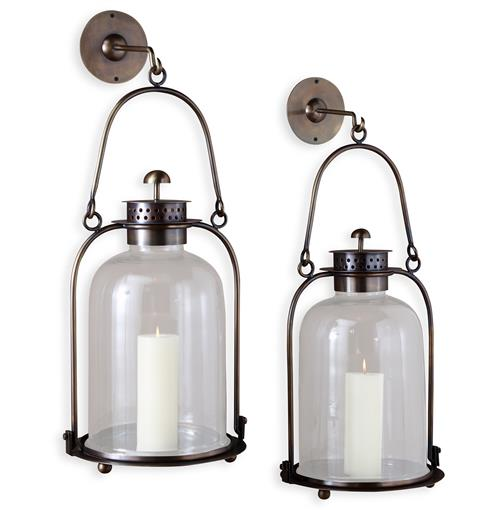 Alta Vista Antique Brass Glass Grand Hurricane Wall Candle Lantern - 20 Inch | Kathy Kuo Home