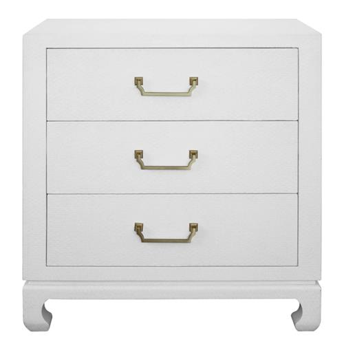 Ira Modern Classic White Basketweave Wood 3 Drawer Nightstand Wide Over 29 W Kathy Kuo Home