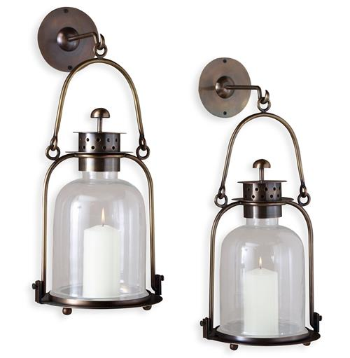 "Alta Vista Antique Brass Glass Hurricane Wall Candle Lantern - 15""H 