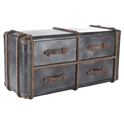 Coberg Industrial Grey Metal Wood Leather Strap 4-Drawer Dresser | Kathy Kuo Home