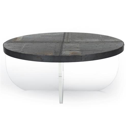 Blaine Modern Acrylic Zinc Top Round Coffee Table