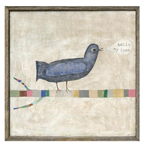Hello My Little Love Bird Reclaimed Wood Art Print | Kathy Kuo Home