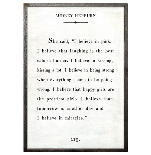 Audrey Hepburn Quote - I Believe In Pink Wood Art Print - White - 36x24 | Kathy Kuo Home