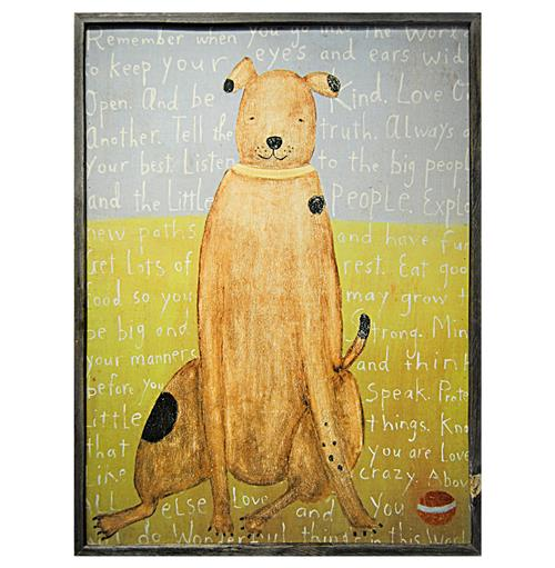 Remember When You Go - Reclaimed Wood Brown Boy Dog Wall Art - 36 Inch | Kathy Kuo Home
