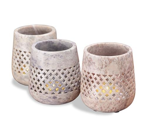 Syra Pink, Gray & White Marble Pierced Votive Candleholders | Kathy Kuo Home