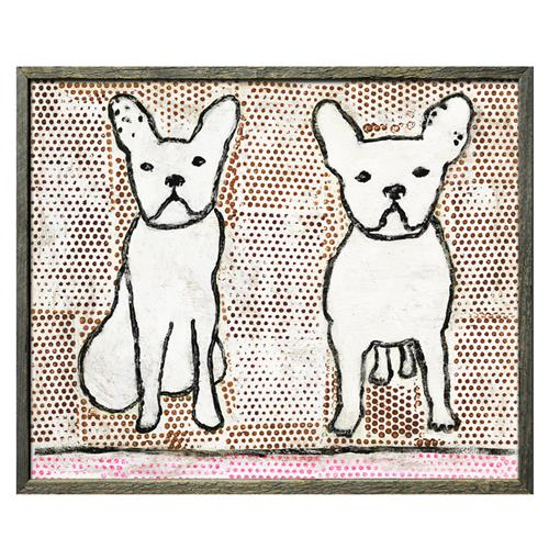 Double Trouble Sweet Dogs Reclaimed Wood Framed Art Print - 20x24 | Kathy Kuo Home