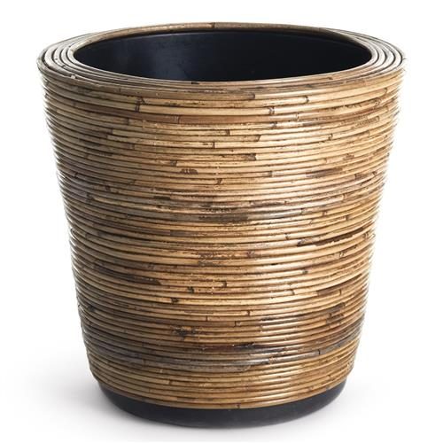 Analee Rustic Lodge Brown Rattan Dry Basket Planter - Small | Kathy Kuo Home