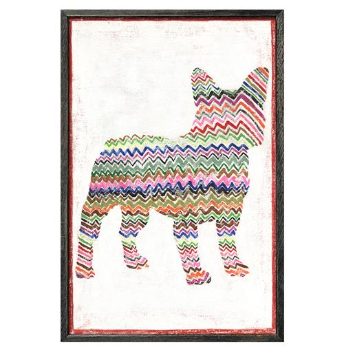 Frenchie Dog Colored Zig Zags Reclaimed Wood Wall Art Print | Kathy Kuo Home
