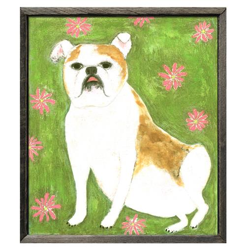 Gorgeous Girl Bulldog Green Pink Floral Reclaimed Wood Art Print | Kathy Kuo Home