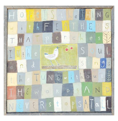 Hope Is The Thing With Feathers Block Bird Reclaimed Wood Art Print - 25 Inch | Kathy Kuo Home