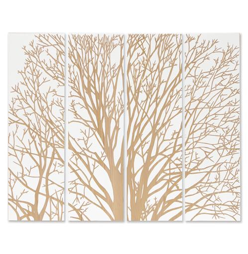 Palecek Spring Tree White Carved Wood Wall Mural Art | Kathy Kuo Home