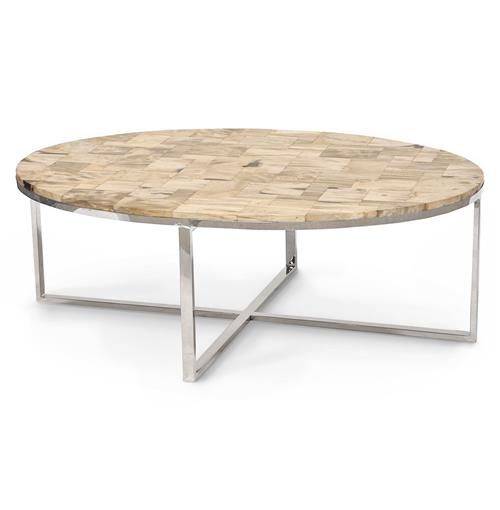 Palecek mosaic industrial loft petrified wood cream oval for Large cream coffee table