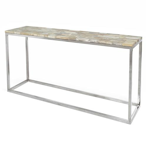 Lakota Industrial Loft Petrified Wood Cream Rectangular Console Table | Kathy Kuo Home