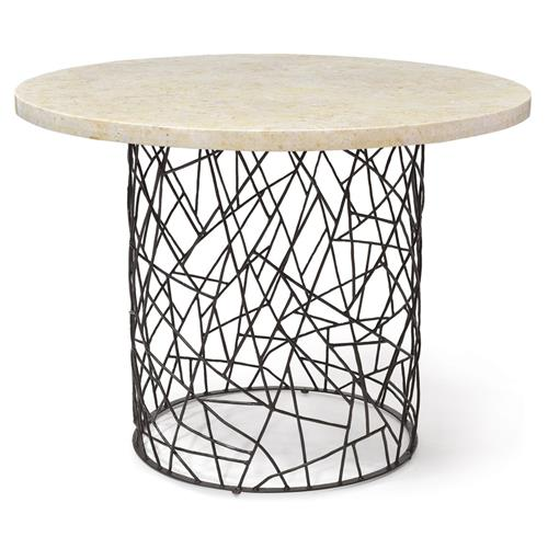 Palecek Bleeker Industrial Pacific Mactan Stone Round Dining Bistro Table | Kathy Kuo Home