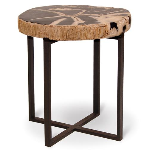 Palecek Black Petrified Wood Industrial Loft Round Side Table - 16 Inch | Kathy Kuo Home