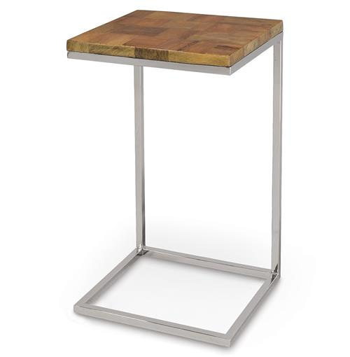 Luau Coco Bark Wood Industrial Loft Sliding Side Table | Kathy Kuo Home
