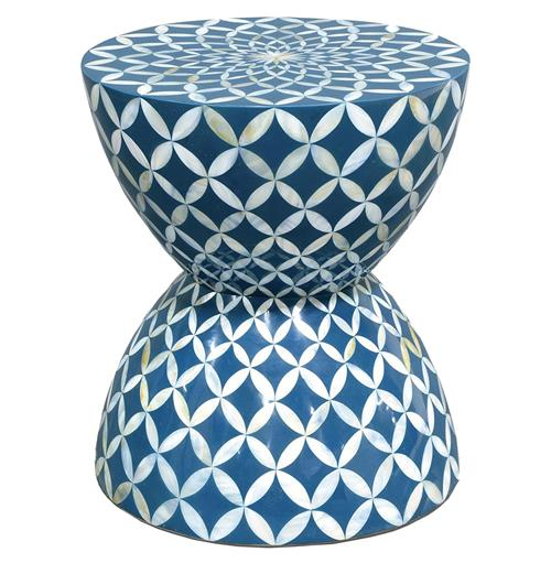 Palecek Inlaid Shell Coastal Beach Hourglass Blue White Stool Side Table | Kathy Kuo Home