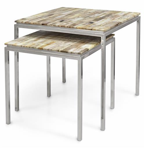 Palecek Mosaic Industrial Petrified Wood Square Nesting Side Tables - Set of 2 | Kathy Kuo Home