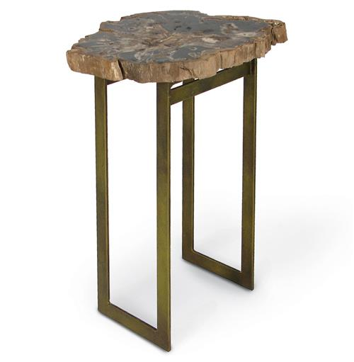 Palecek Petrified Wood Industrial Loft Iron Side Table | Kathy Kuo Home
