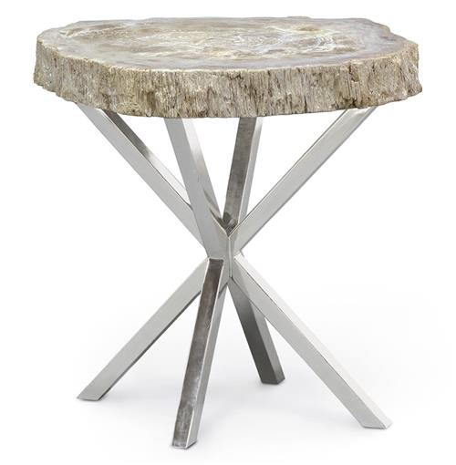 Asterisk Petrified Wood Industrial Loft Steel Side Table | Kathy Kuo Home