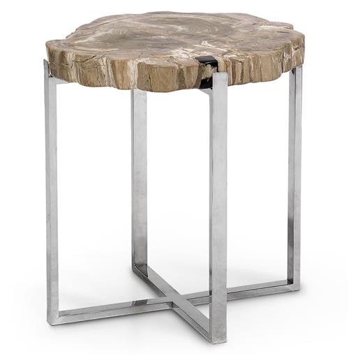 Burren Industrial Loft Petrified Wood Stainless Steel Side Table | Kathy Kuo Home