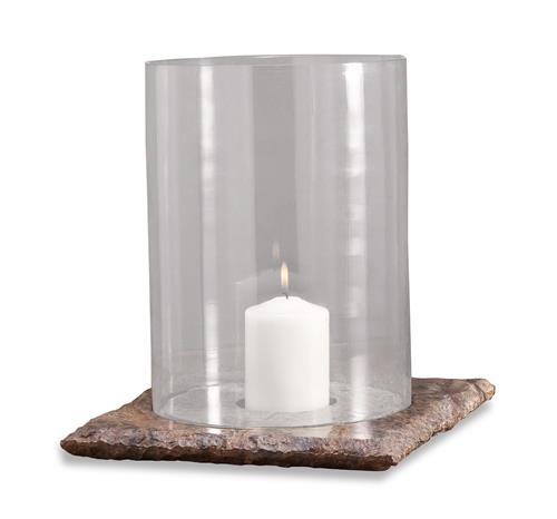 Pair Varnik Modern Glass and Stone Hurricane Candle Holders | Kathy Kuo Home