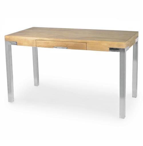 Palecek Brighton Industrial Loft Plantation Hardwood Steel Desk | Kathy Kuo Home