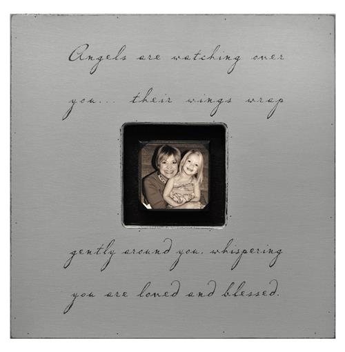 Painted Wood Rustic Photo Box - Angels Are Watching Over You - French Grey | Kathy Kuo Home