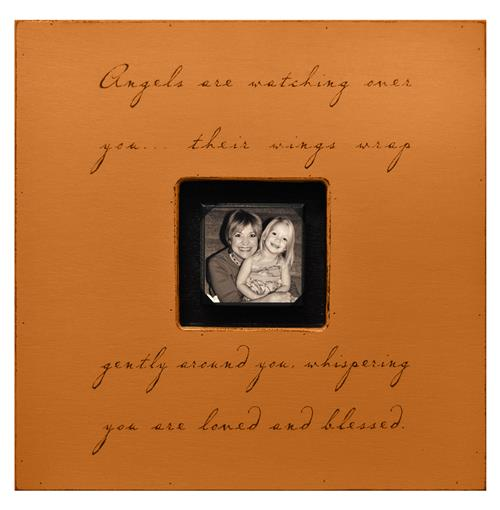 Painted Wood Rustic Photo Box - Angels Are Watching Over You - Terra Cotta | Kathy Kuo Home