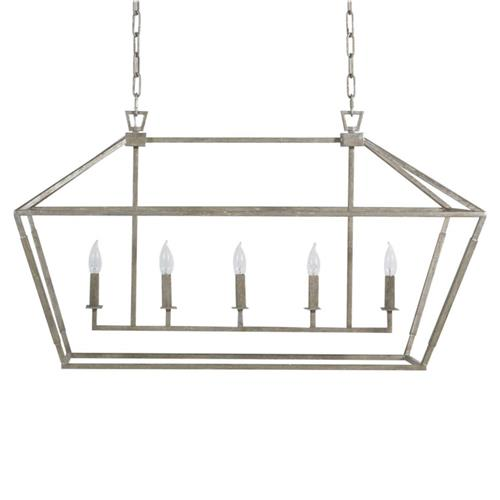 Avia Industrial Loft Antique Silver Leaf Iron Rectangular Lantern Chandelier | Kathy Kuo Home
