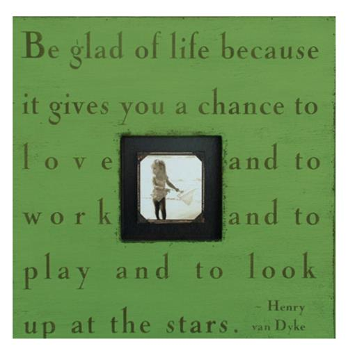 Painted Wood Rustic Photo Box - Be Glad Of Life - Apple Green | Kathy Kuo Home