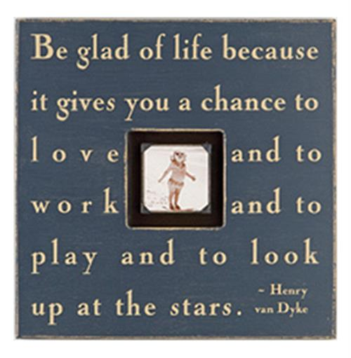 Painted Wood Rustic Photo Box - Be Glad Of Life - Charcoal | Kathy Kuo Home