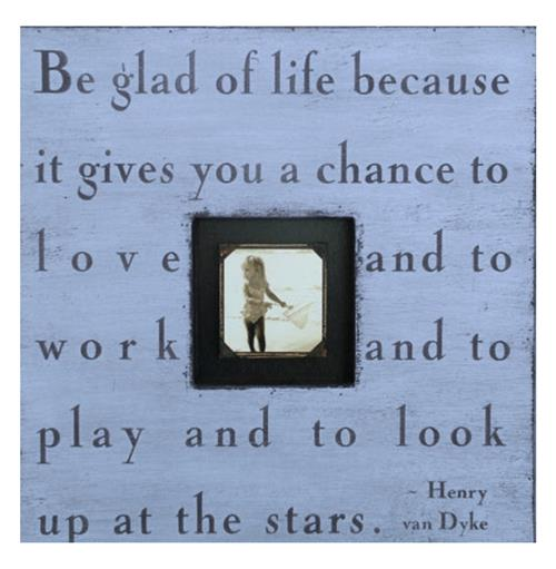 Painted Wood Rustic Photo Box - Be Glad Of Life - French Blue | Kathy Kuo Home