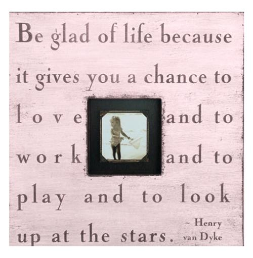 Painted Wood Rustic Photo Box - Be Glad Of Life - Pink | Kathy Kuo Home