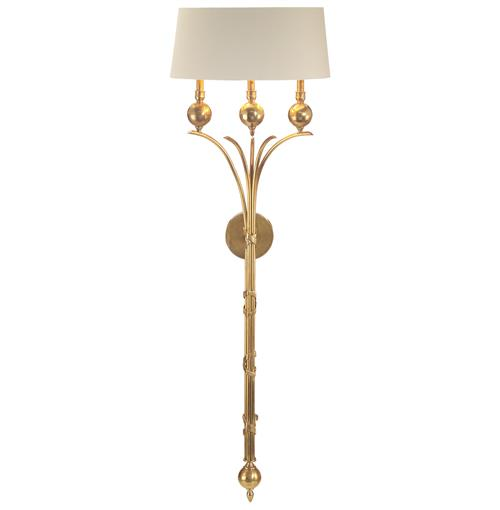 John-Richard Tristanna Hollywood Regency Honey Brass Gold 3 Light Wall Sconce | Kathy Kuo Home