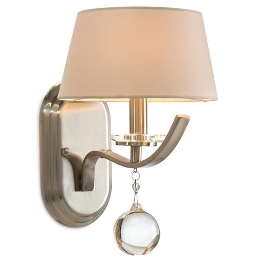 Mendler Hollywood Regency Brushed Nickel Crystal Wall Sconce | Kathy Kuo Home