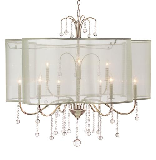 John-Richard Denise Hollywood Regency Champagne Silver Crystal 9 Light Chandelier | Kathy Kuo Home