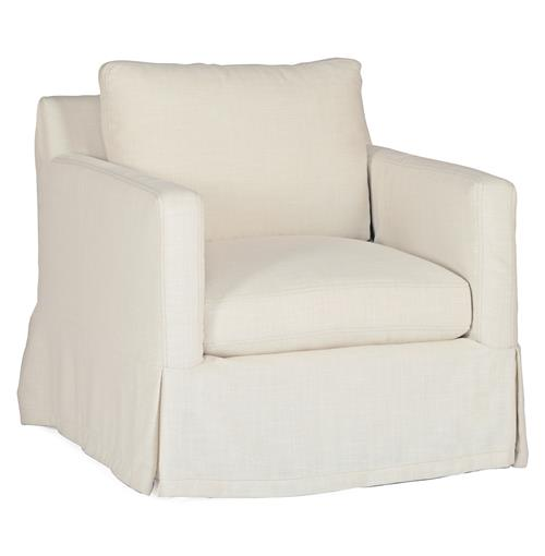 Hayes Casual Classic Ivory Linen Slipcover Swivel Arm Chair | Kathy Kuo Home