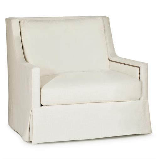 Helena Hollywood Regency Classic Ivory Linen Swivel Arm Chair | Kathy Kuo Home