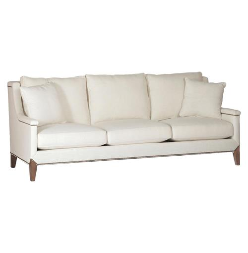 Liam Hollywood Regency Classic Ivory Linen Sofa | Kathy Kuo Home