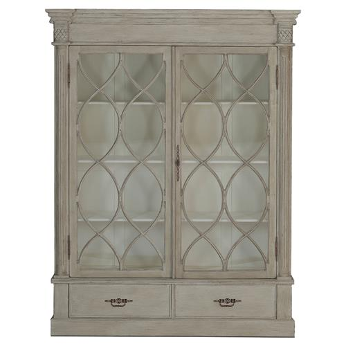 Grace French Country Weathered Wood 2 Door Display Cabinet | Kathy Kuo Home