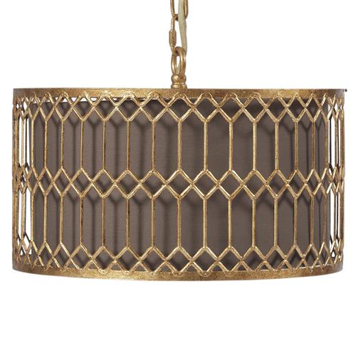 Catalina Hollywood Regency Antique Gold Drum Pendant Light | Kathy Kuo Home