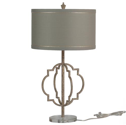 Charlotte French Country Quatrefoil Antique Gold Iron Table Lamp | Kathy Kuo Home