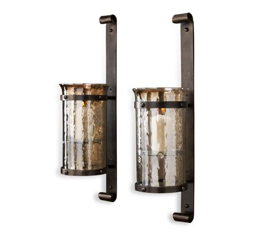 Mathis Rustic Wall Hurricane Sconce - Pair | Kathy Kuo Home